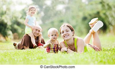 愉快, 夏天, 公園, 家庭, 四