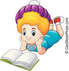 愉快, 女孩, 書, 閱讀, 卡通