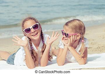 愉快, 海灘, 孩子玩