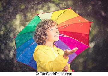 愉快, 玩, 雨, 孩子