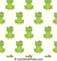 愉快, 青蛙, 圖案, seamless, 矢量, 花, 卡通, 好