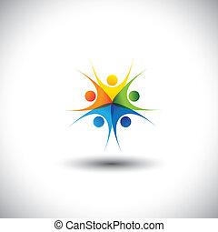 愉快, graphic., 社區, 親密無間, 孩子, 會議, -, 也, 協調, 興奮, 友誼, 鮮艷, 插圖, 統一, 完整, 代表, 孩子, 這, 一起, 玩, 信任, 矢量, 或者