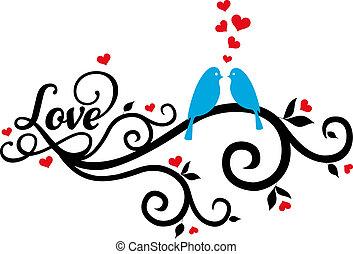 愛鳥, 矢量, 紅色, 心