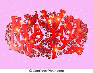 愛, 字母, -, 題字, 手, 你