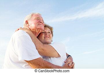 愛, 海灘, 夫婦, 年長