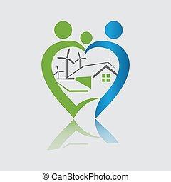 愛, 矢量, 形狀, 摘要, 家, 設計, 人們