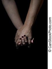 愛, 背景人們, 二, 黑色, 扣留手