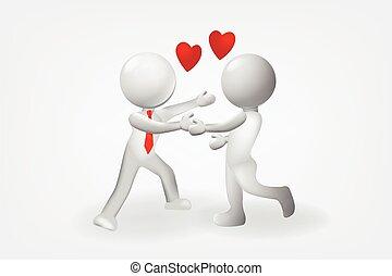 愛, 關係, 人們, 矢量, 設計, 小, 標識語, 3d