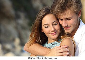 感到, 愛, 擁抱的對, 浪漫史