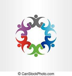 慶祝, 人們, 黨, 環繞, 組