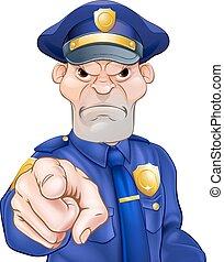 憤怒, 指, 官員, 警察
