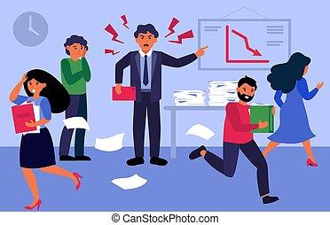 憤怒, 老板, 呼喊, 辦公室人們