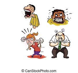 憤怒, 設計, 插圖, 人們