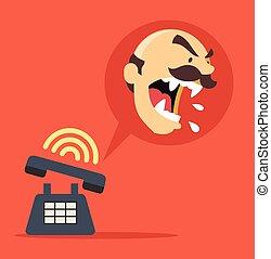 憤怒, 電話, 老板