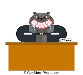 憤怒, businessman., 老板, 狗, isolated., 矢量, 插圖, 牛頭犬