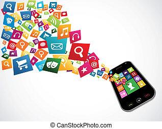應用, 下載, smartphone