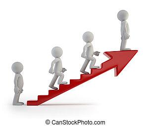 成功, 人們, 梯子, -, 小, 3d