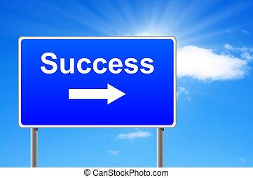 成功, 天空, 簽署, 背景。, 箭, 路