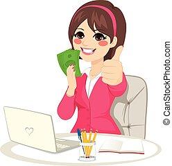 成功, 從事工商業的女性, 錢, 迷, banknote