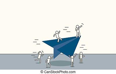 成功, 機會, future., 人, 領導, 公司, 視覺, 矢量, 職業, illustration., 商人, 概念, 方向, 戰略, 人, 解決, 方式, 飛行, 挑戰, 計劃, 背景。, 事務