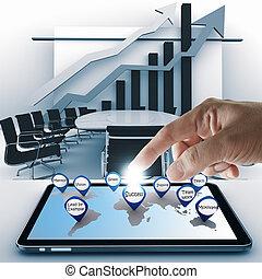成功, 片劑, 點, 手, 商業電腦, 圖象