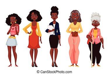 成熟, 黑色, 婦女, 不同, 年青人, 年齡