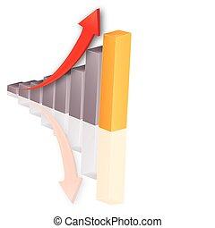 成長, -, 圖表, 股票