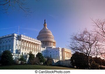 我們, 建築物, 華盛頓 國會大廈, dc, 傍晚