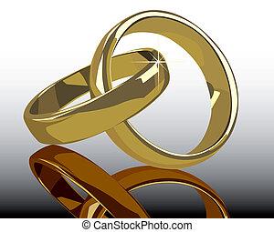 戒指, 反映, 金, 婚禮