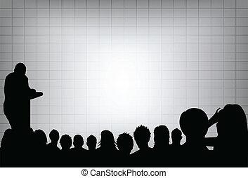 或者, 增加, 投射, 會議, 事務, 正文, screen., 人群, 你, 表達, 人, 模仿, audience., 產品, 空白, 銷售, 前面