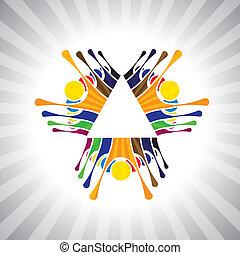 或者, 玩, 也, 心情, 簡單, 雇員, 工人, together-, 玩得高興, 喜慶, 矢量, 孩子, &, graphic., 活生生, 罐頭, 興奮, 隊, 孩子, 配合, 插圖, 人們, 顯示, 代表, 這