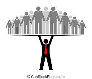 或者, 組, everyone., 人們, 整體, boss., 老板, community., 它, 隊, 支持, 領導人