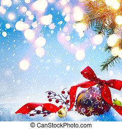 或者, 藝術, 季節, 問候, 假期, 背景, 旗幟, 圣誕節卡片