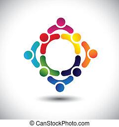 或者, 鮮艷, 玩, 建築物, 也, 友誼, vector., circles-, 人們, 孩子, &, 罐頭, 复合, 隊, 圖象, 這, 插圖, 活動, 一起, 組, 代表, 概念, 等等