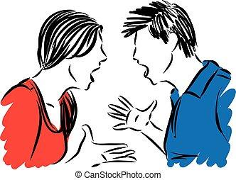 戰斗, 矢量, 人, 夫婦, 插圖, 概念, 婦女
