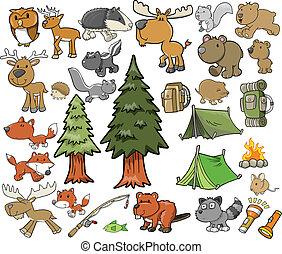 戶外, 野生動物, 矢量, 集合, 露營
