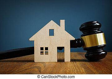 房地產, 房子, concept., 模型, 法律, gavel.