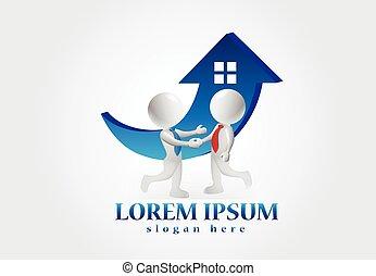 房子, 人們。, 小, 標識語, 購買, 3d