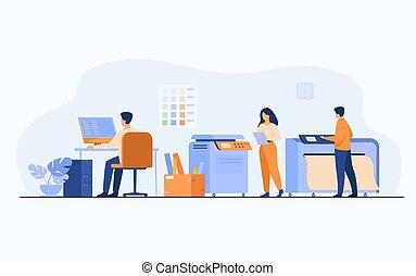 房子, 使用, 印刷品, 工人, 計算机