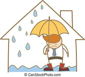 房子, 字, 屋頂, 滲漏, 卡通, 人