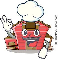房子, 字, 廚師, 卡通, 紅的谷倉