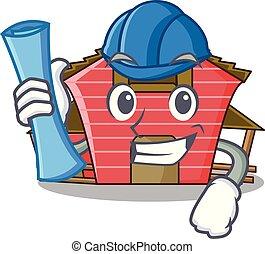 房子, 字, 建築師, 卡通, 紅的谷倉