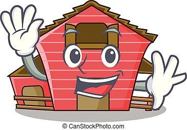 房子, 字, 招手, 卡通, 紅的谷倉