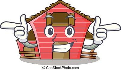 房子, 字, 眨眼, 卡通, 紅的谷倉