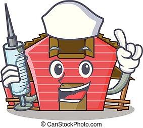 房子, 字, 護士, 卡通, 紅的谷倉