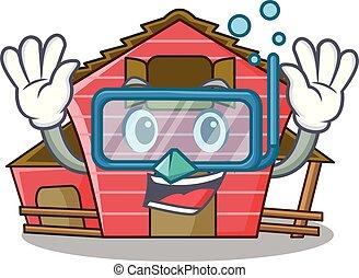 房子, 字, 跳水, 卡通, 紅的谷倉