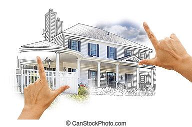 房子, 手, 取景, 相片, 白色, 圖畫