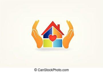 房子, 手, 標識語