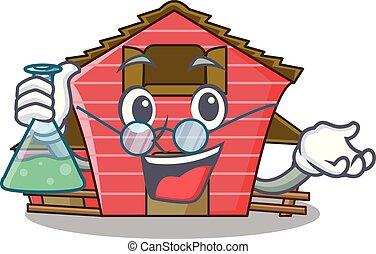房子, 教授, 字, 卡通, 紅的谷倉