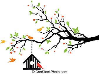 房子, 春天, 矢量, 鳥, 樹